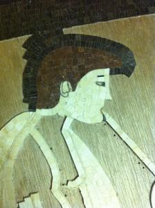 nuova creatività dal mosaico in legno suonatore flauto